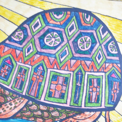 Tortue Coloriage hippy 1967