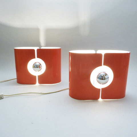 Pair of orange lamps by Stilux