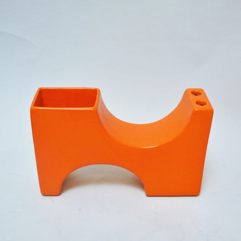 Vase architecturé orange Années 70