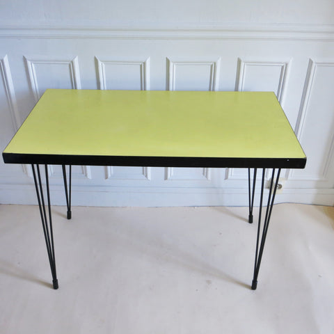 Table de bistrot rectangulaire Formica jaune