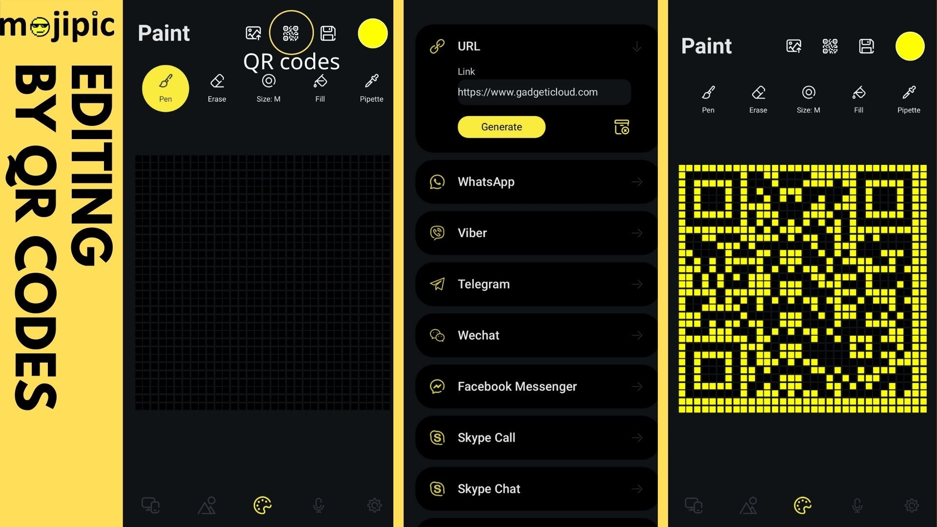 Ultimate Guide of Mojipic -- LED Emoji Car Tailgate Display_Mojipic application interface of making QR code