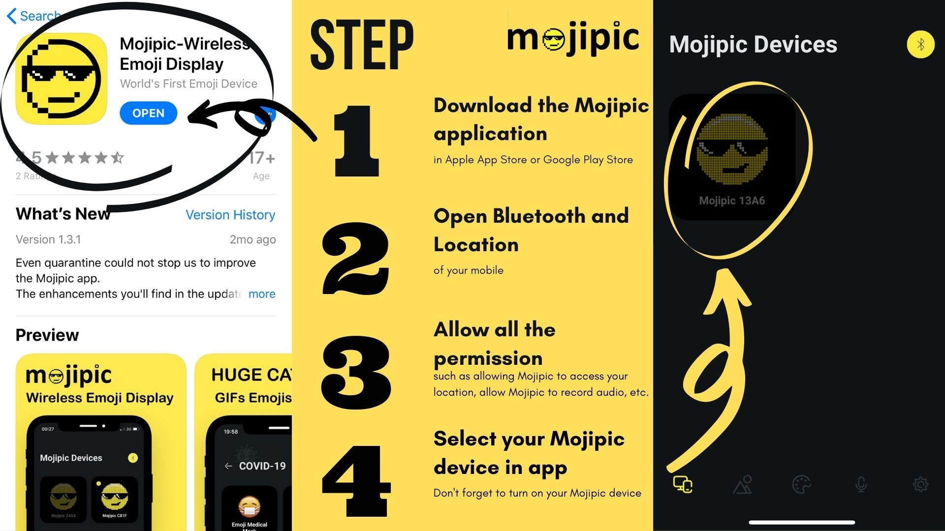 Ultimate Guide of Mojipic -- LED Emoji Car Tailgate Display_Download Mojipic app and Mojipic application interface when connecting the device