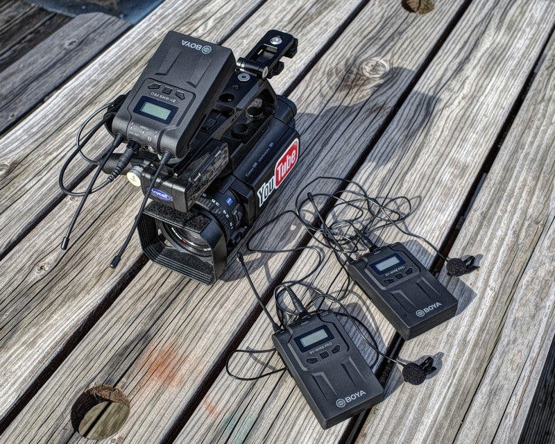 iMartCity BOYA BY-WM8 PRO UHF Dual-Channel Wireless Microphone System LCD display PLL-synthesized tuning capturing audio with dual subjects video filming production installation