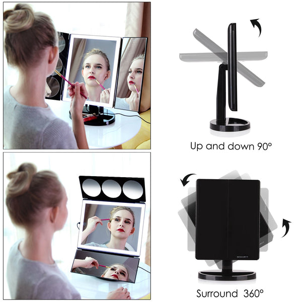 Large Lighted Trifold Vanity Makeup Mirror 3X 5X 10X Magnification with light wall mounted lighted magnifying bathroom professional makeup mirror standing stand up cheap vanity with lights magnifying 20x best lighted  magnifying bathroom s with lights trifold led led ring light fancii magnifying glass conair oval double sided lighted absolutely lush gotofine led lighted vanity simplehuman features - GadgetiCloud