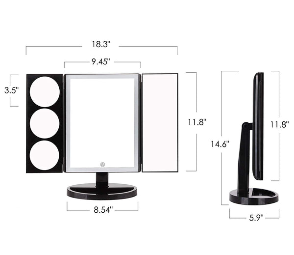 Large Lighted Trifold Vanity Makeup Mirror - 3X 5X 10X Magnification iMartCity size dimension