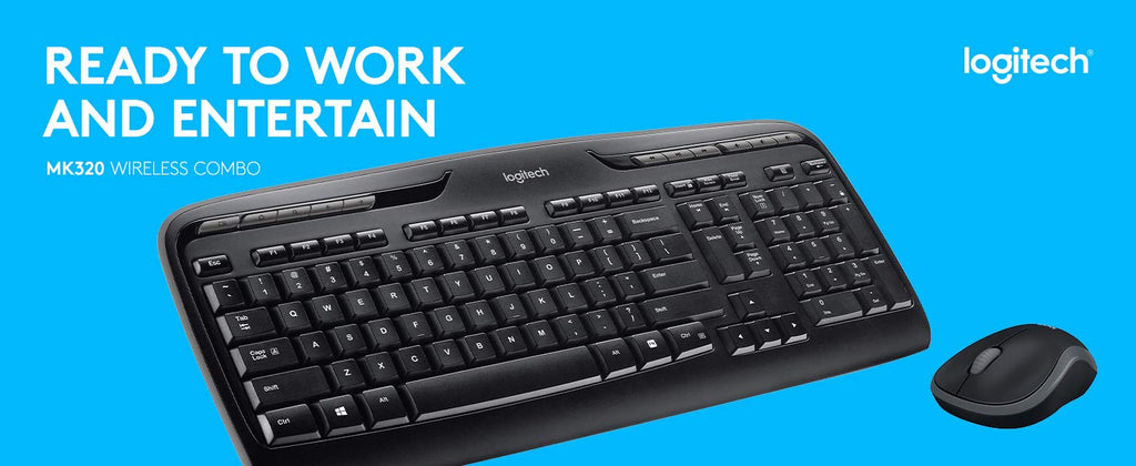 Logitech MK320 Full-Size Wireless Multimedia Keyboard and Optical Mouse  Combo