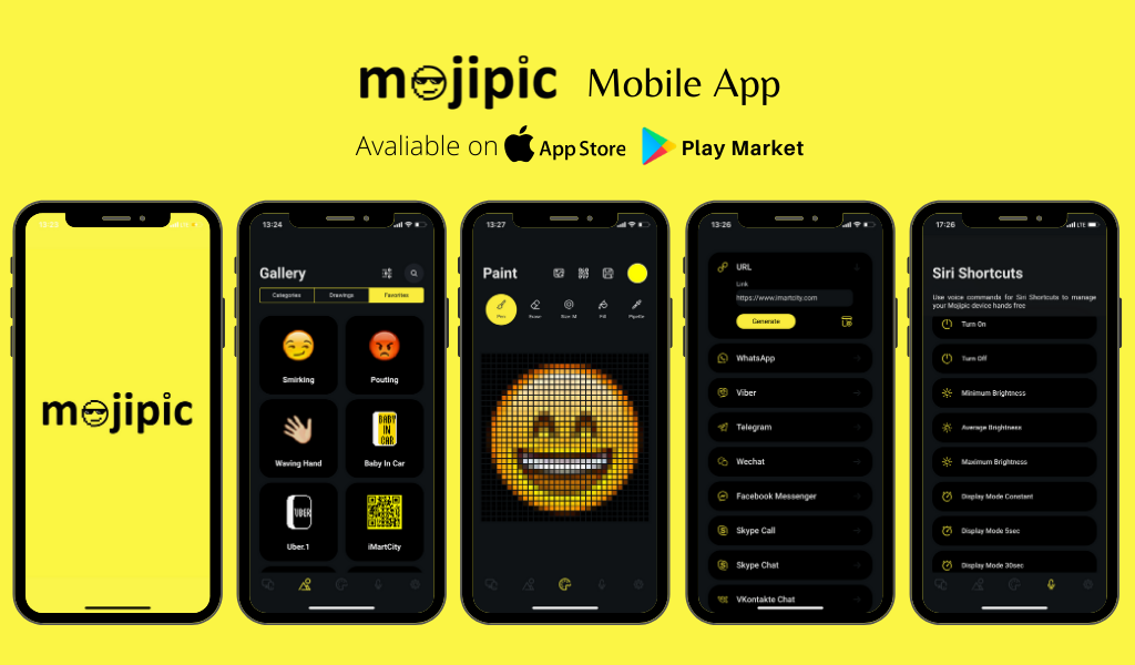Mojipic voice-controlled led car display with mojipic app animated materials and auto qr code generator