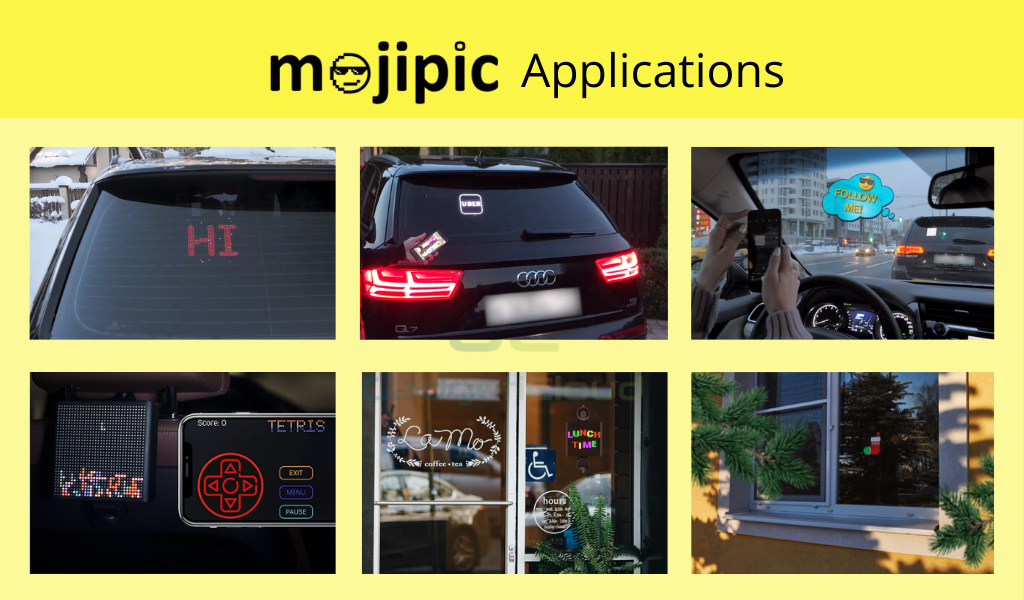 Mojipic led car decals multipurpose led display emojis display