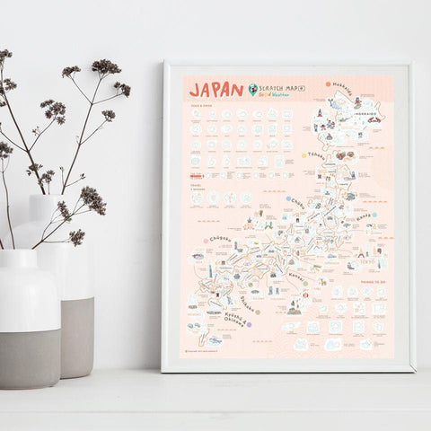 Japan Scratch Travel Map - Travel to Japan - iMartCity frame up