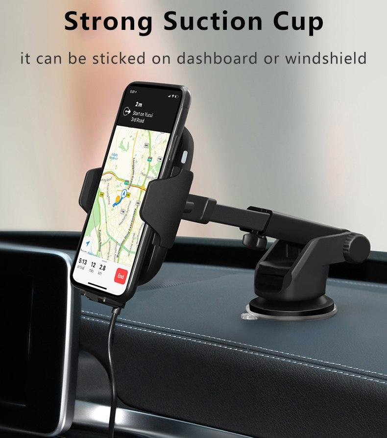 Wireless Car Charger Mount Holder for Cell Phone Automatic Infrared Sensor Built in to Open or Close Grip Suction Cup Holder