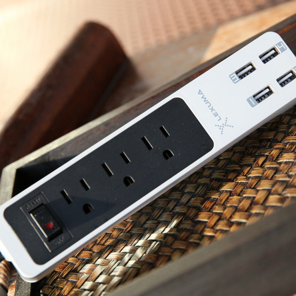 Lexuma XStrip XPS-SB1340 3 Gang US 15A Socket Mini USB Power Strip with 4 USB Ports 5V 6A Overload Surge Protector Protected Standard 3-Outlets All-in-one Wholesale Certificated 3 Electric US plugs Plus Fast Charging Station Multi-Outlets White AC Plugs and Extension Cord Travel Size Power Strip overview – iMartCity