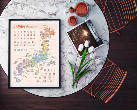 Japan Scratch Travel Map - Travel to Japan - iMartCity frame up ikea framing