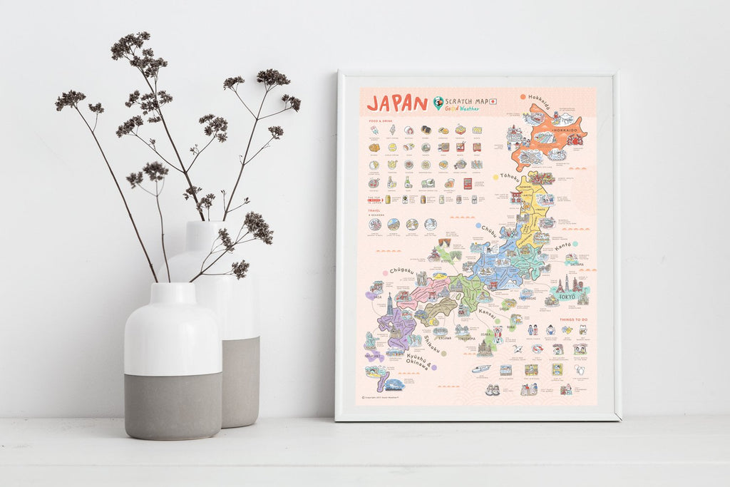 Japan Scratch Travel Map - Travel to Japan - iMartCity home decoration