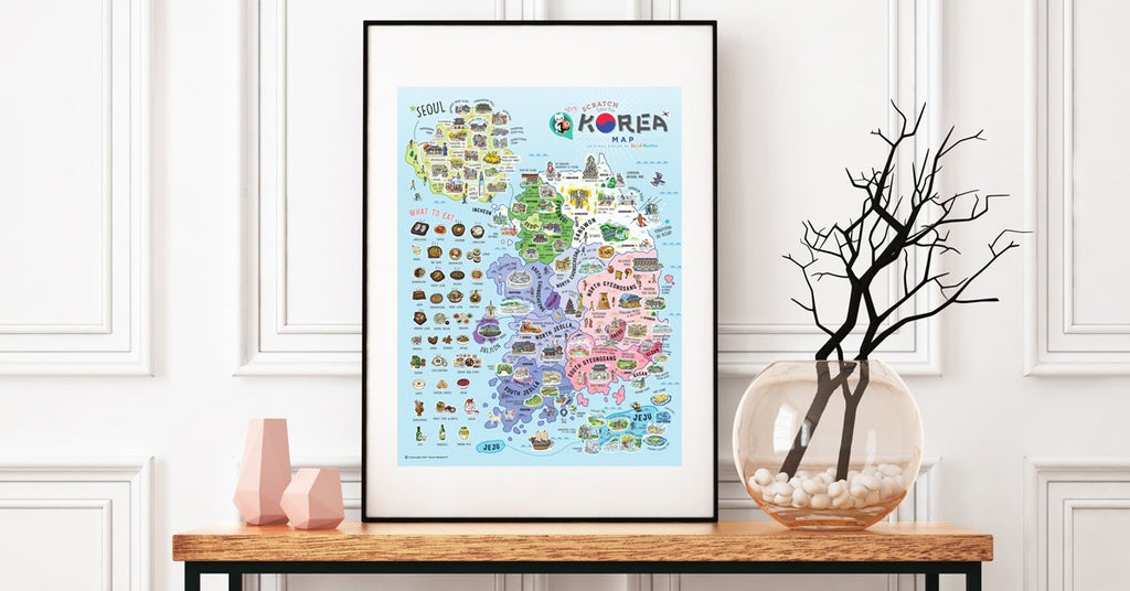 Korea Scratch Travel Map - Travel to Korea - iMartCity frame up home decoration