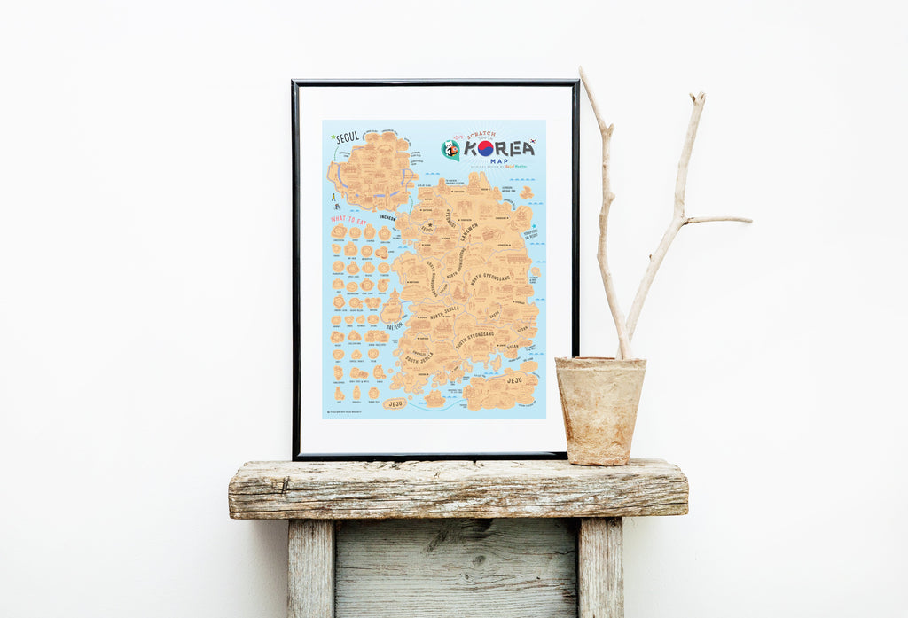 Korea Scratch Travel Map - Travel to Korea - iMartCity frame up decoration