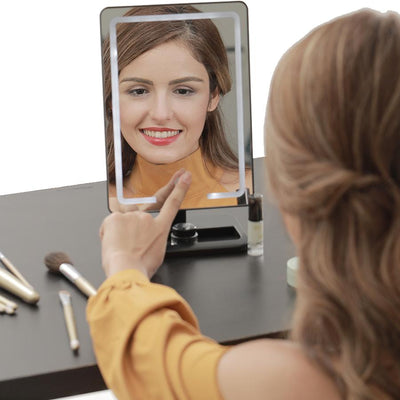 LED Lighted Desktop Makeup Vanity Mirror - 1X/10X Magnification - imartcity with led light magnifying mirror