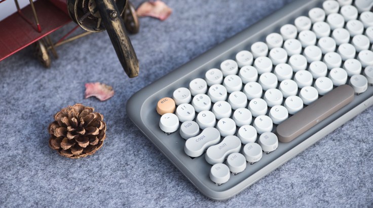 iMartCity - Autumnal Grey Lofree Wireless Mac Mechanical Keyboard Aestival Blue Wireless Mac DOT Bluetooth Mechanical mini keyboard retro style Steampunk Vintage Typewriter azio unicomp ultra classic penna keyboard special color