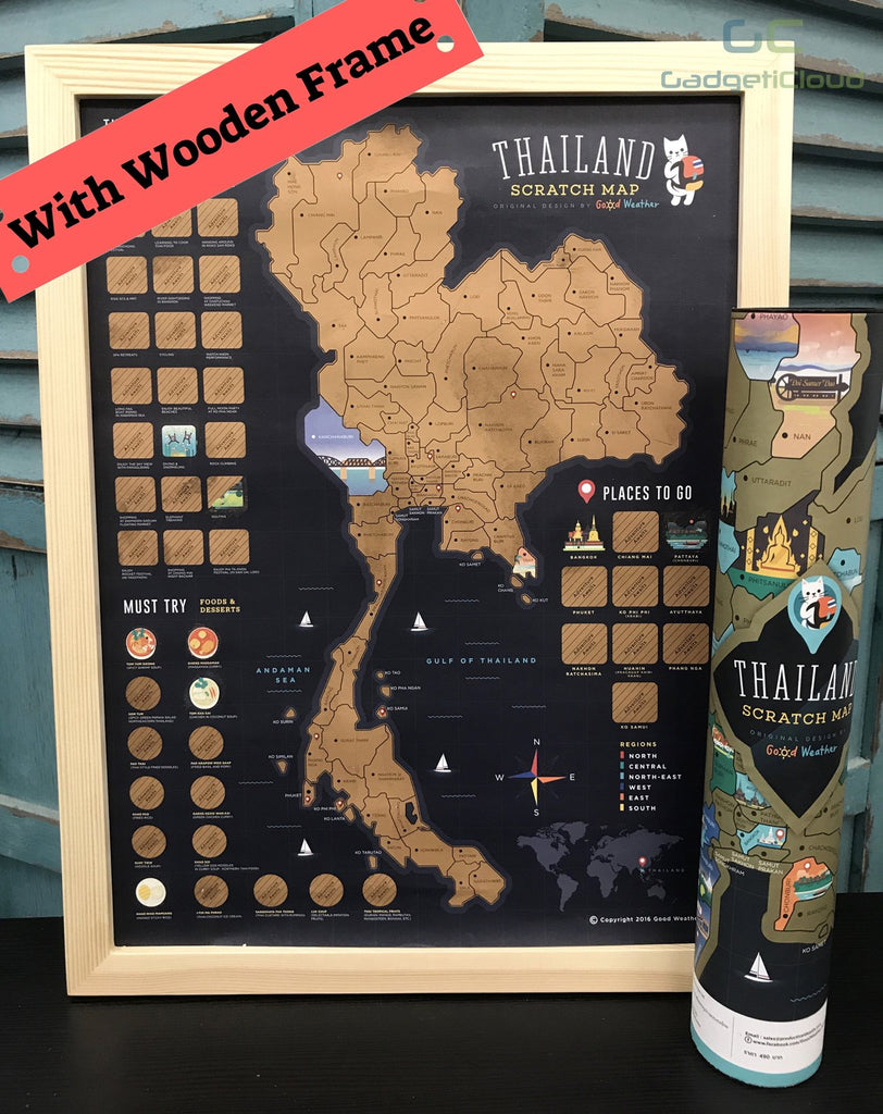 Thailand Scratch Travel Map with Frame -imartcity