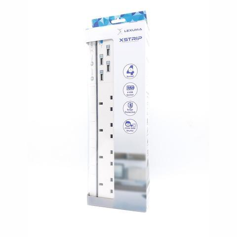 Lexuma XStrip XPS-S1440 4 socket UK Gang Surge Protected Power Strip with Smart IC 4 USB Charging Ports universal power strip best smart argos travel extension energy saving plug electricity smart strip homekit strip lgc3 smartthings argos travel power strip extension cord led power strip - iMartCity