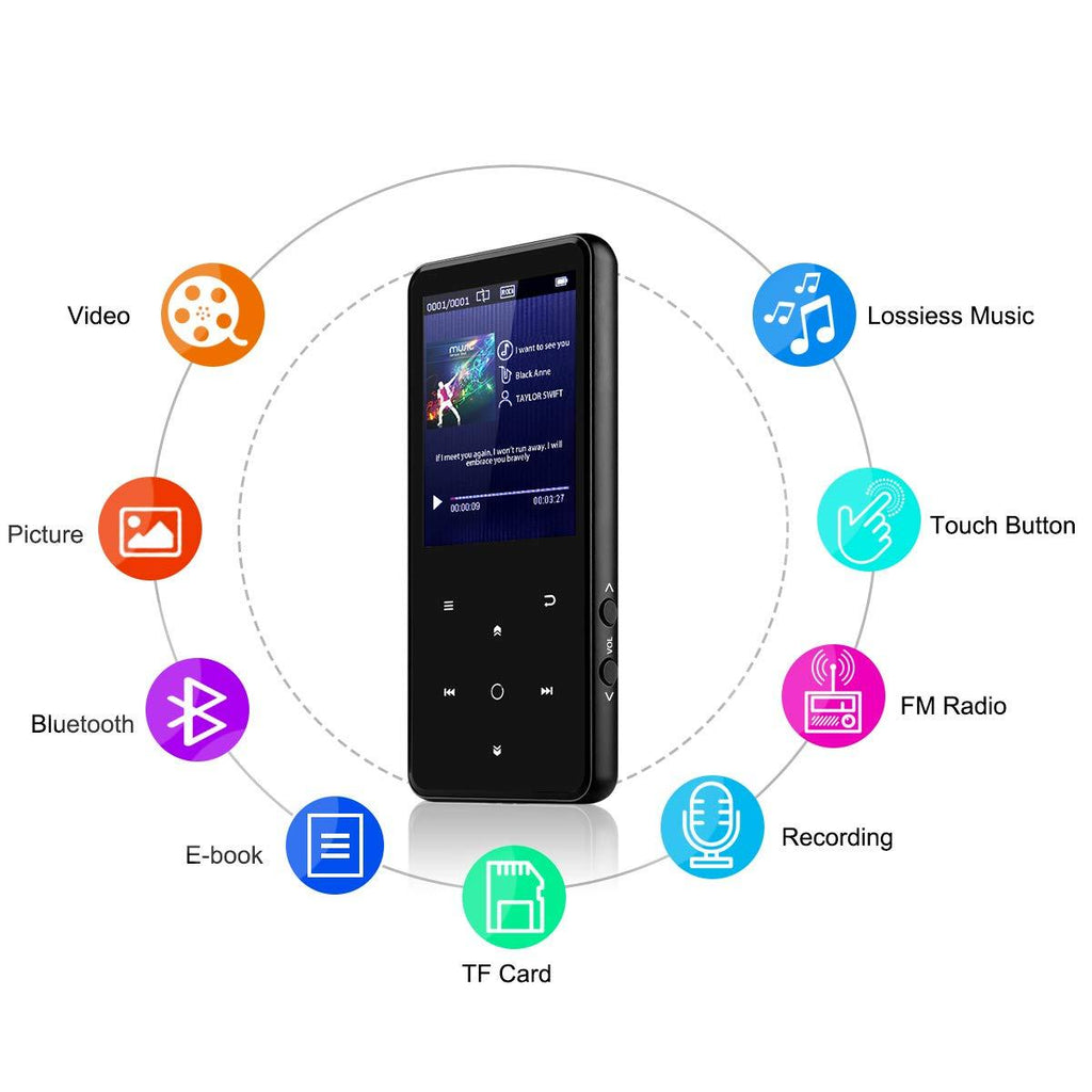 "Portable Bluetooth MP3 Player with 2.4"" Large Screen - iMartCity mp3 lossless player fm radio voice recorder bluetooth music player mp3 walkman bluetooth audio player highlight features"