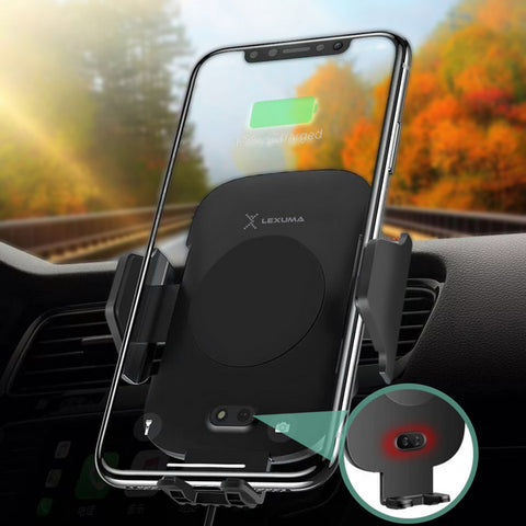 Lexuma Xmount ACM-1009 Automatic Infrared Sensor Qi fast charging Wireless Car Charger Mount for iPhone Xs Samsung S10 E S9 S8 Plus mobile device phone accessories Vehicle phone holder Car Cradles adapter with infrared motion sensor Charging Dock Easy One touch One Tap Auto-Sensor Auto-Clamping Auto-Lock Safety First Cell Phone Car Air Vent Holder Safety on road 4 Dash Smartphone dashboard All-in-one Universal Adjustable Car Mount - iMartCity with phone