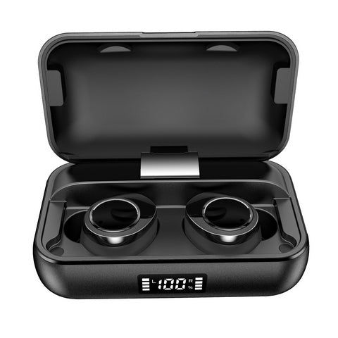iMartCity Lexuma Xbud-X true wireless in-ear earbuds wireless earphones headphones bluetooth 5 charging case ultra large battery capacity Bluetooth 5.0 辣數碼 真無線藍牙耳機 連充電盒 front view outlook black