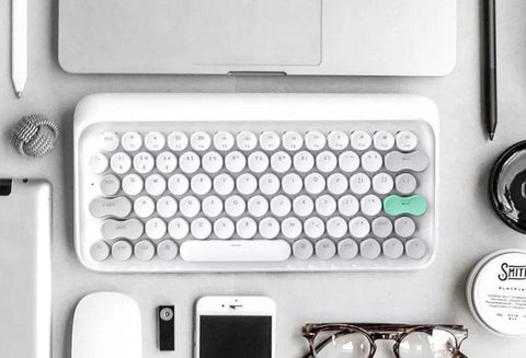 iMartCity - Vernal White Lofree Wireless Mac Mechanical Keyboard Wireless Mac DOT Bluetooth Mechanical mini keyboard retro style Steampunk Vintage Typewriter azio unicomp ultra classic penna keyboard