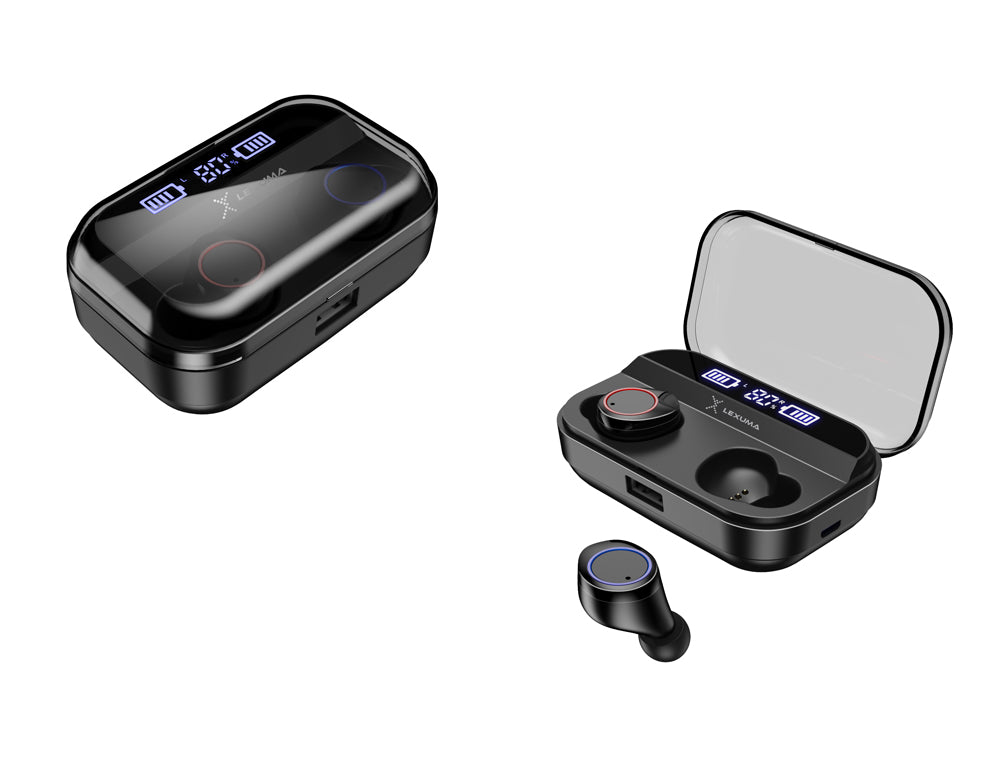 Lexuma Xbud-Z True Wireless stereo In-Ear Bluetooth With Charging Case IPX7 waterproof earbuds for working out running headphones earphones with power bank Water-resistant rechargeable mpow flame AS X2T+ ip8 jbl endurance dive jabra elite 65t ikanzi TWS-X9 x3t x4t tws apa itu tws i12 tozo t10 best wireless earbuds best wireless earbuds for working out - iMartCity black overview
