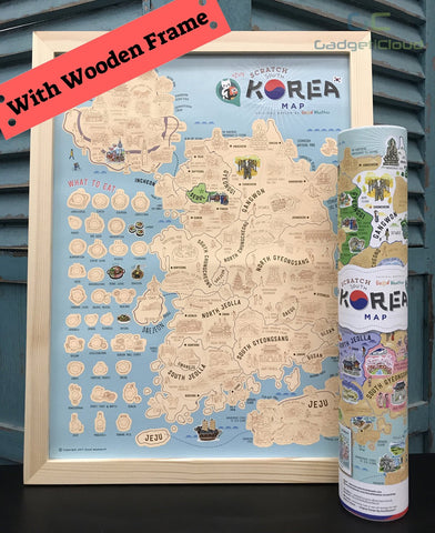 Korea Scratch Travel Map with Frame - iMartCity