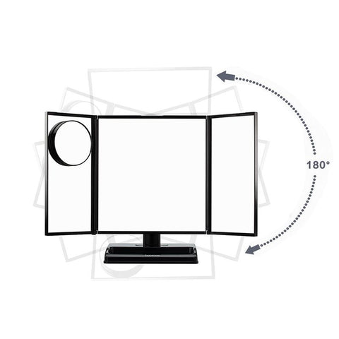 LED Lighted 3-fold Desktop Makeup Vanity Mirror - 10X Magnification - imartcity horizontal vertical rotation