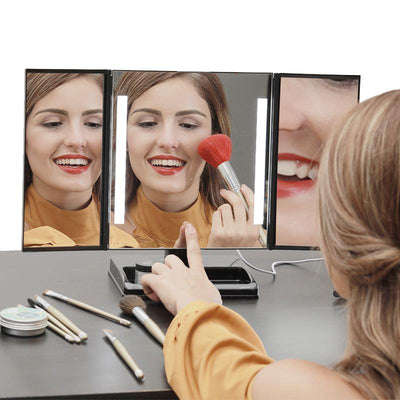 LED Lighted 3-fold Desktop Makeup Vanity Mirror - 10X Magnification - imartcity trifold daily beauty mirror