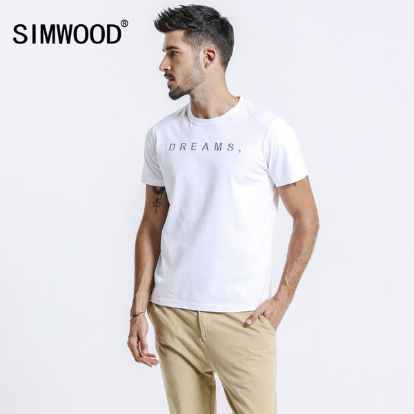 cd941f11 SIMWOOD 2019 Summer New T Shirt Men Fashion Letter Embroidery Tops Cotton  Slim Fit Casual Tees
