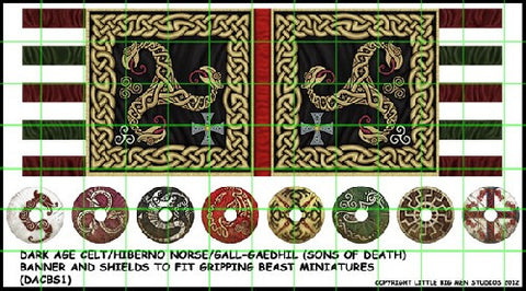 Dark Age Celt banner and shields