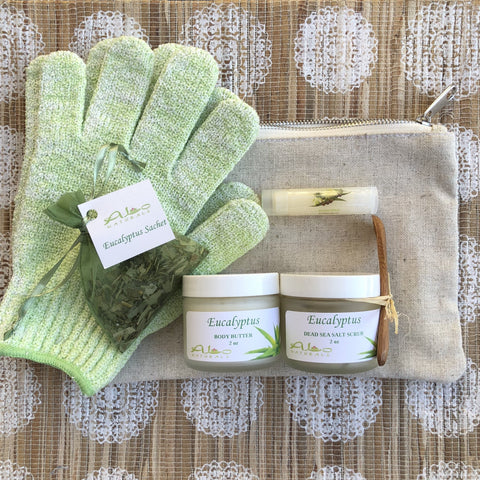 These kits include a 2oz Body Butter, 2oz Dead Sea Salt Scrub, a Lip Balm, a Sachet, a pair of Shower Gloves, and a high quality canvas bag with 3 inside pockets.