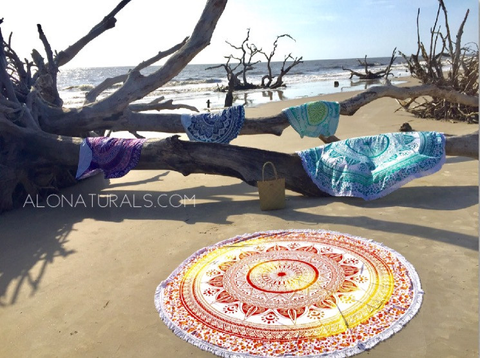 These gorgeous mandala tapestries can be used as a beach blanket, picnic blanket, wall hanging, table cloth, cover-up, shall, throw blanket, yoga towel, meditation cloth.