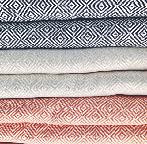 All of these gorgeous pieces are hand loomed with 100% Turkish cotton.  This luxurious cotton is known for its softness, absorbency, quick dry, light weight, and it's hygienic and antibacterial properties.