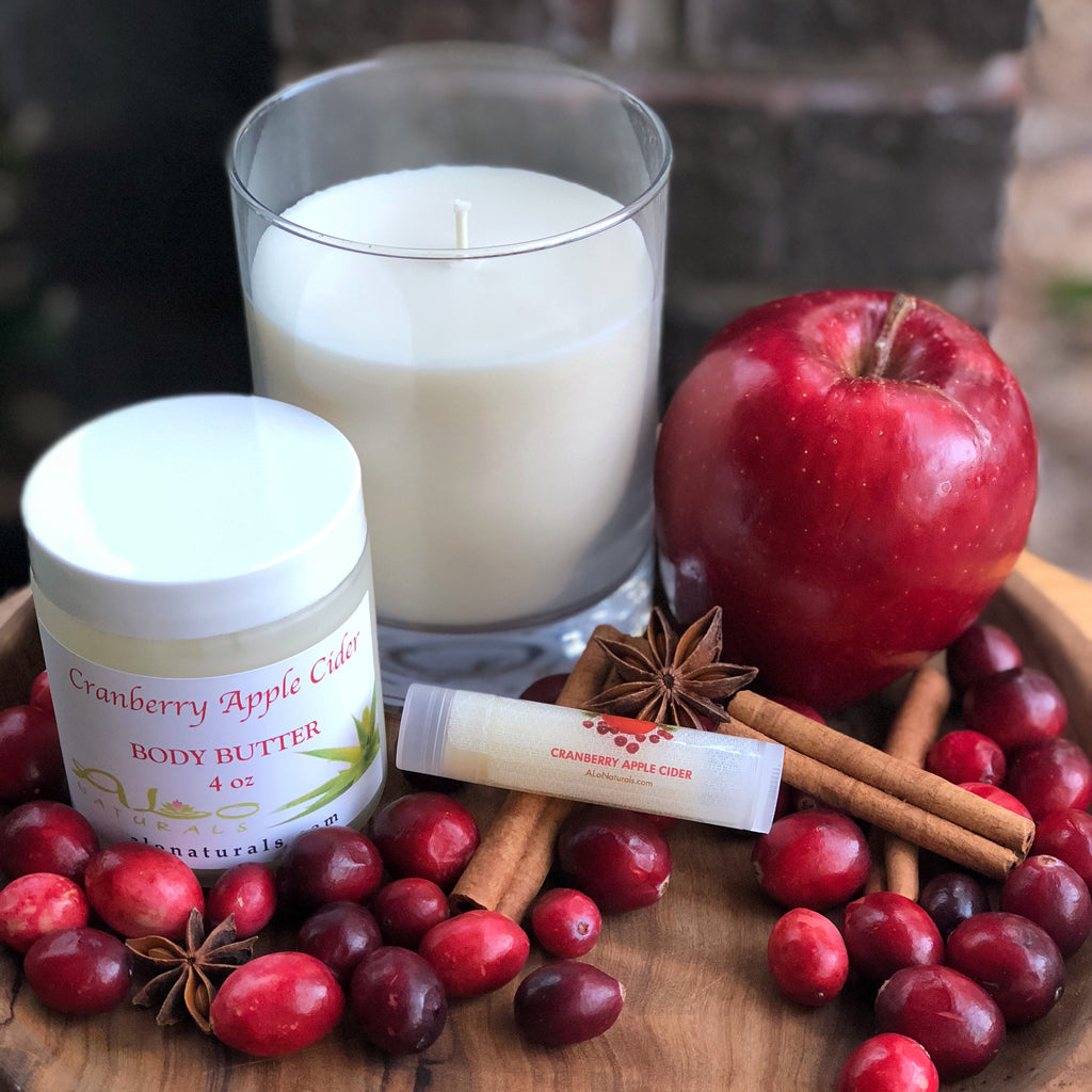Cranberry Apple Cider Collection.  Includes 100% soy candle, body butter, and lip balm.