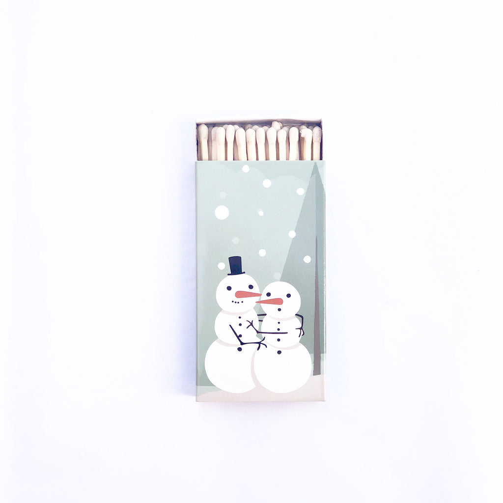 """Baby it's cold outside"" Jumbo candle matches with hugging snowmen!"