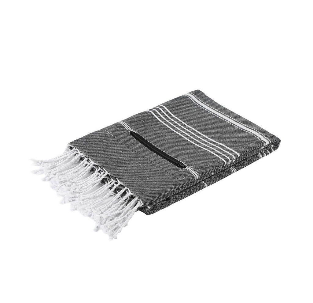 Turkish cotton beach towel with small zipper pocket in black.