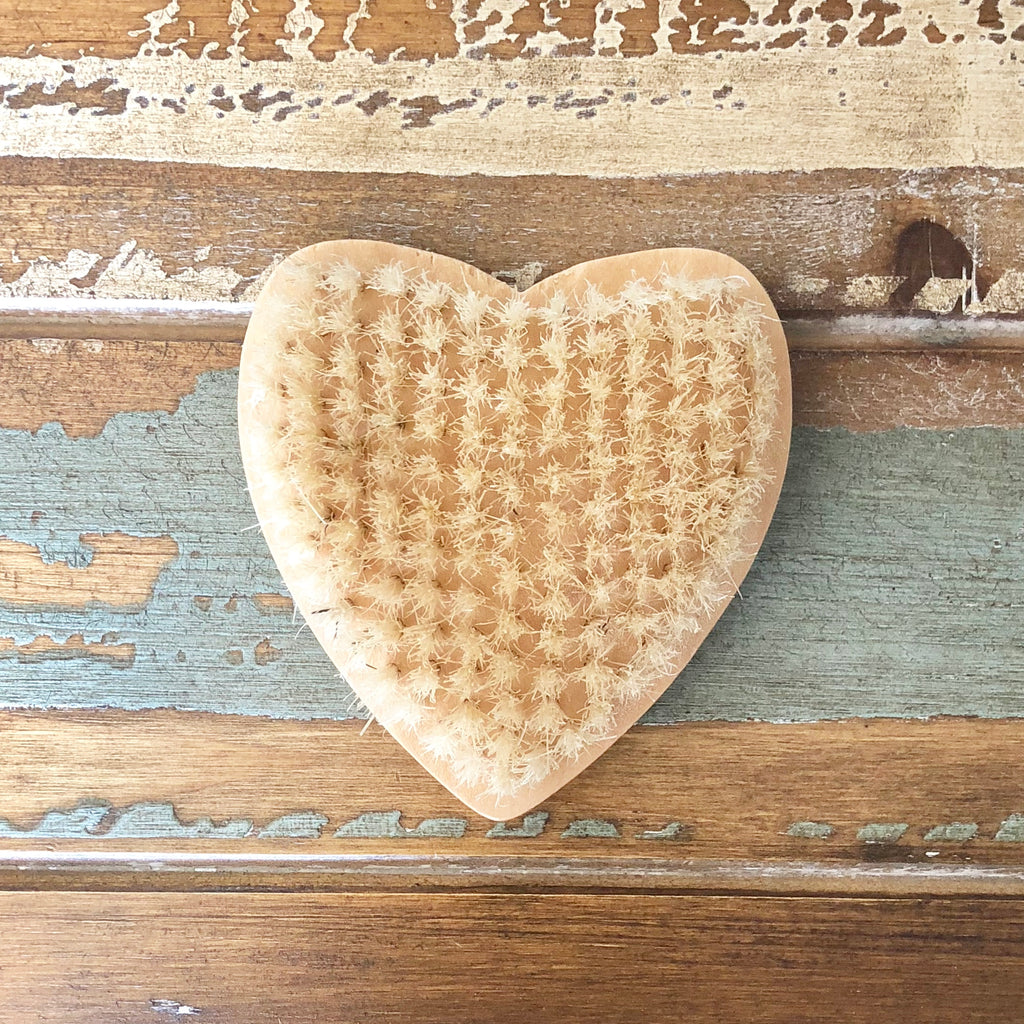 Heart shaped bristle brush. Great for use on feet & nails!