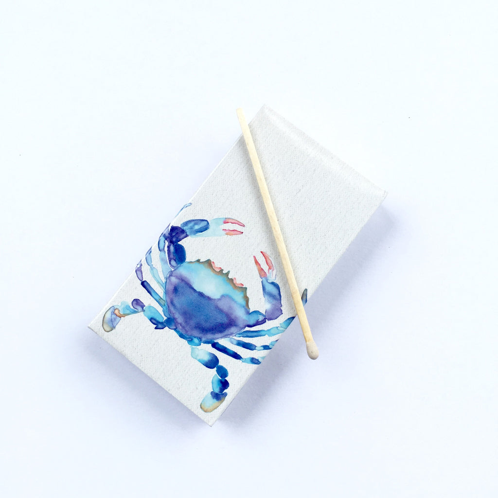 These Blue Crab jumbo matches are perfect for lighting our hand poured soy candles!  These decorative matches are a lovely addition to enhance any home décor.  Our designer match boxes are reusable, and each comes with 50 matches tipped in white.