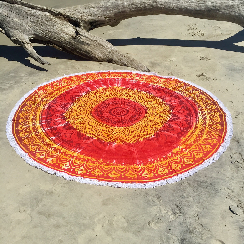 This beautiful red and orange tie dye mandala is about 6 feet in diameter.  It can be used as a beach blanket, picnic blanket, wall hanging, table cloth, cover-up, shall, throw blanket, yoga towel, meditation cloth, or whatever your heart desires.