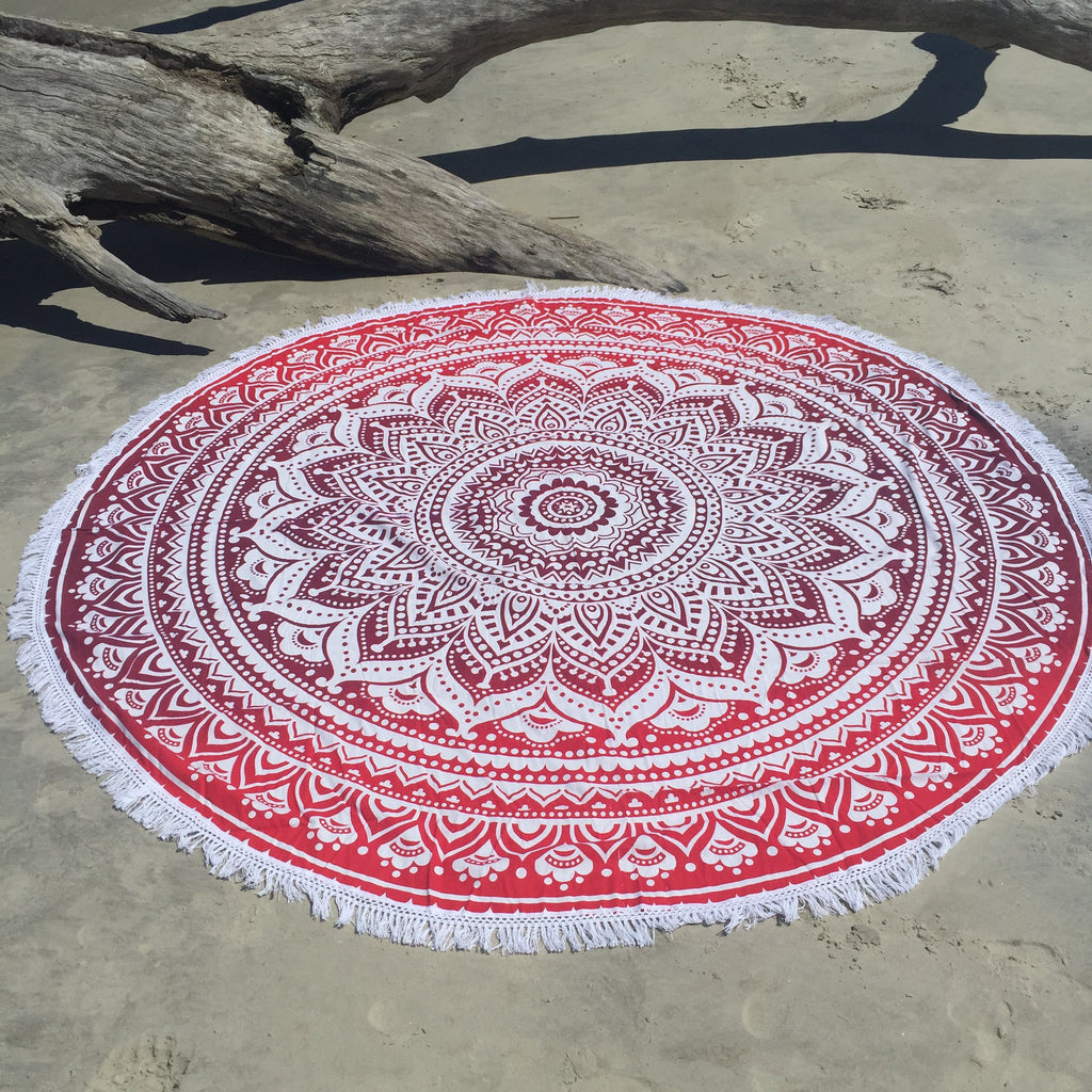 This beautiful red ombre mandala is about 6 feet in diameter.  It can be used as a beach blanket, picnic blanket, wall hanging, table cloth, cover-up, shall, throw blanket, yoga towel, meditation cloth, or whatever your heart desires.