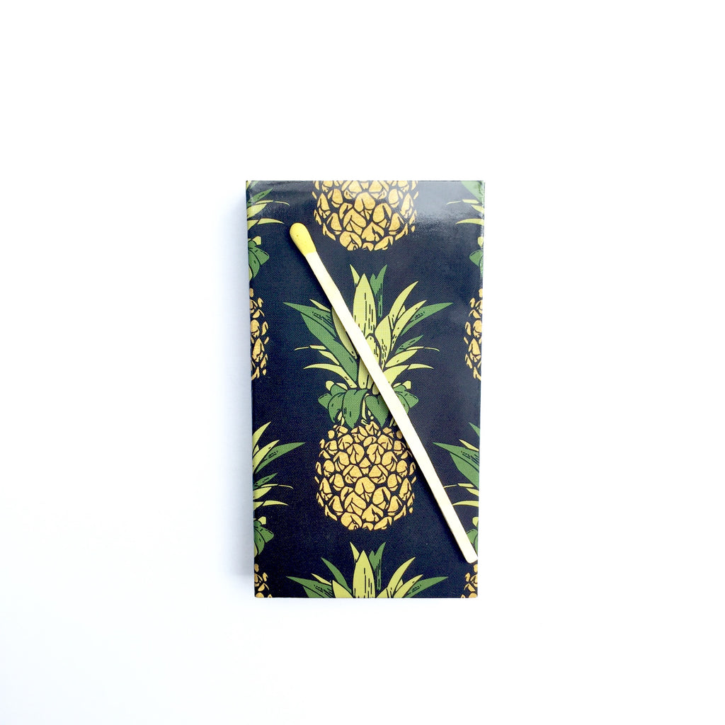 These Pineapple jumbo matches are perfect for lighting our hand poured soy candles!  These decorative matches are a lovely addition to enhance any home décor.  Our designer match boxes are reusable, and each comes with 50 matches tipped in yellow.