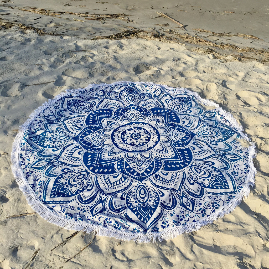 This beautiful blue and white mandala is about 6 feet in diameter.  It can be used as a beach blanket, picnic blanket, wall hanging, table cloth, cover-up, shall, throw blanket, yoga towel, meditation cloth, or whatever your heart desires.