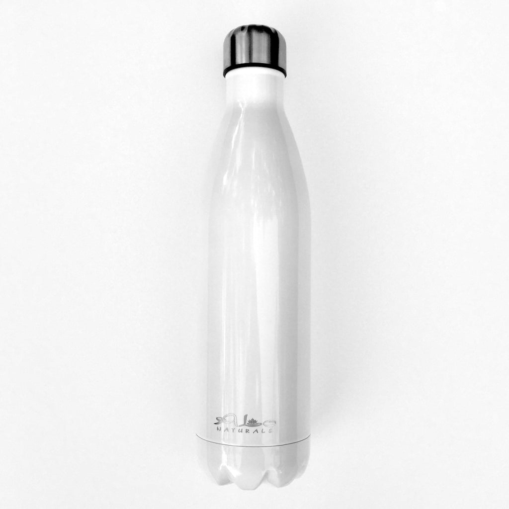 High grade 18/8 stainless steel Vacuum sealed BPA free Toxin free Triple walled Stays cold 24 hours Stays hot 12 hours 750 ml Eco-friendly White