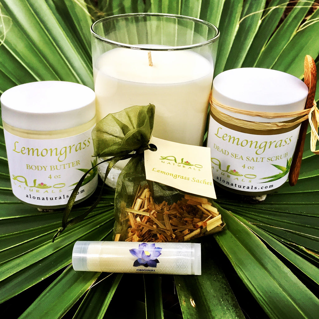 Our Lemongrass Collection has a super fresh scent and can aid in treating depression and anxiety.  Lemongrass has soothing, sedating, and calming effects on the mind.  It also serves as a natural bug repellent.  Scented with therapeutic grade essentials.
