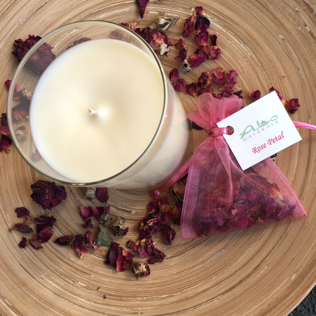 The Rose Petal Collection includes a 13.5oz soy candle, and a sachet with real red rose buds.  They smell beautiful, are all natural, handmade, and a perfect way to say Happy Valentine's Day to someone special!