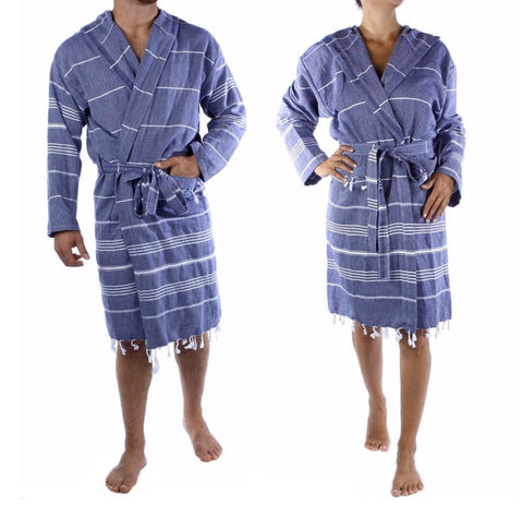 Navy Tassel Bathrobe