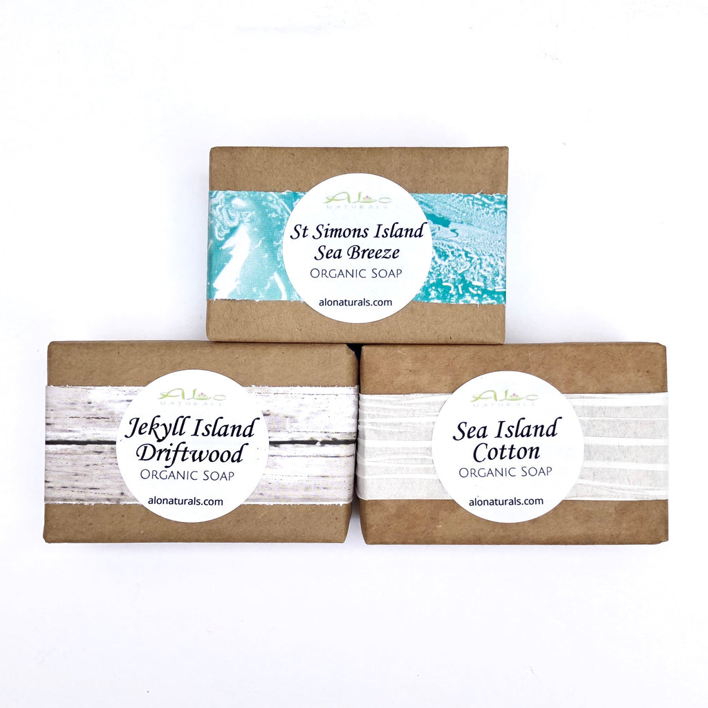 This soap trio includes all of our fresh Golden Isles scents.  Saint Simons Island Sea Breeze, Jekyll Island Driftwood, and Sea Island Cotton!  Our Triple Butter Soap Bars are vegetable derived and made with premium luxurious butters!  Our blend of Shea Butter, Mango Butter, and Cocoa Butter nourish and cleanse the skin.  They are formulated to soften and restore the skin's natural health.